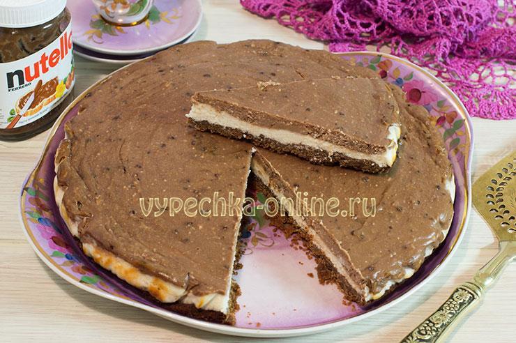 Творожный чизкейк с Нутеллой и шоколадной основой