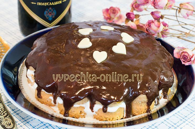 Бисквитный торт со сметанным кремом простой рецепт с фото в домашних условиях