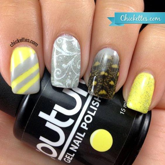 Жёлто-серый маникюр
