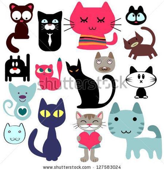 Трафареты котов для рисования