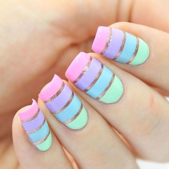 Ногти с полосками дизайн