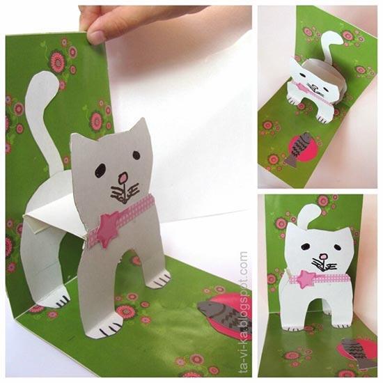 Объёмная открытка с кошкой