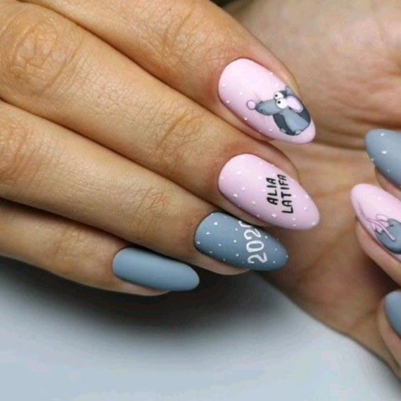 Дизайн ногтей серым и розовым лаком