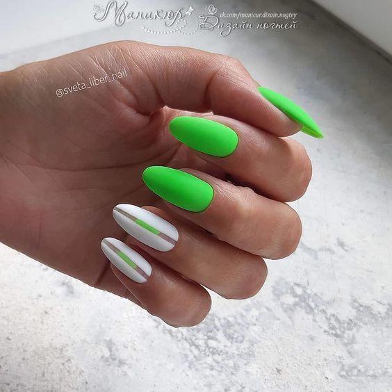 Маникюр зелёный с белым: дизайн ногтей бело-зелёный, идеи с фото