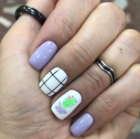 Клетчатый маникюр дизайн ногтей