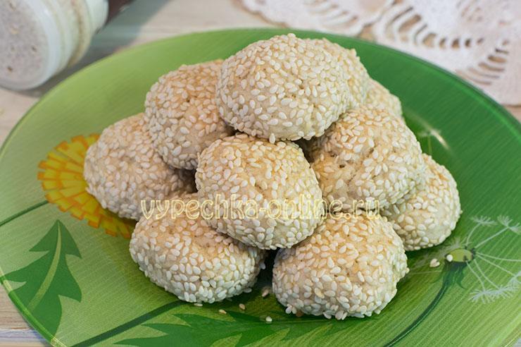 Кунжутное печенье рецепт с фото пошагово в духовке на скорую руку (постное, без яиц)