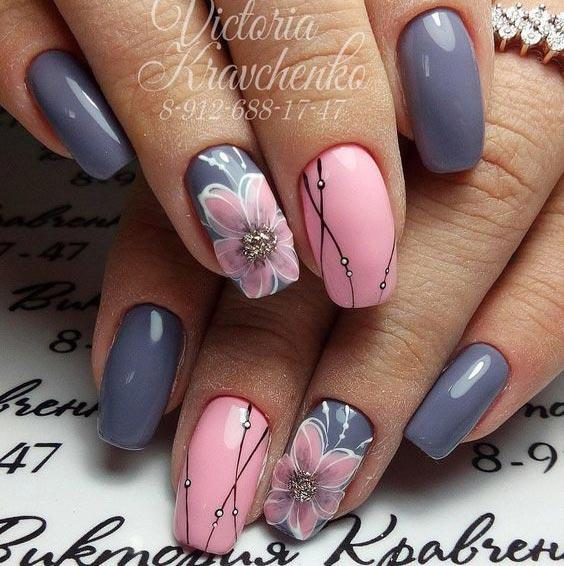 Дизайн ногтей серо-розовый