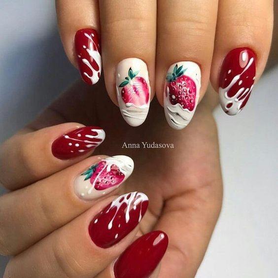 Маникюр с клубникой фото, дизайн ногтей