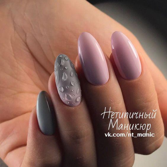 Серо-розовый маникюр фото, дизайн ногтей