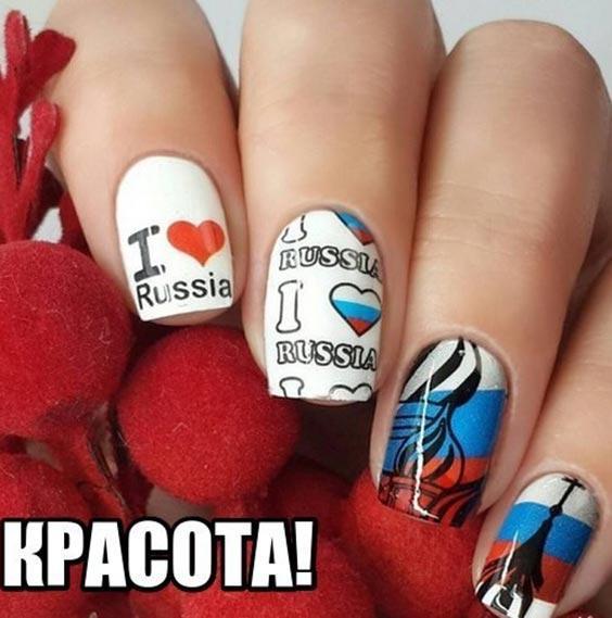 Маникюр с русским флагом