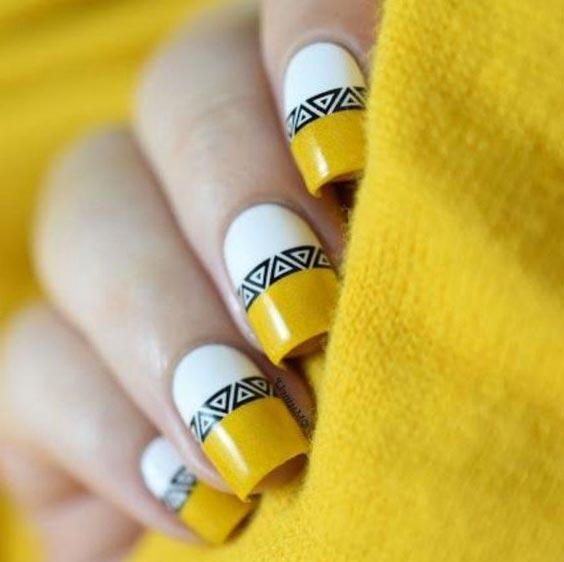 Чёрно-жёлтый дизайн ногтей