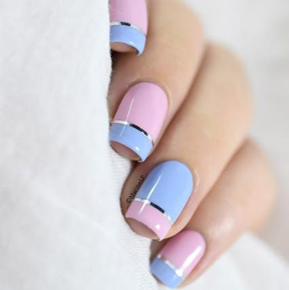 Дизайн ногтей розовый с голубым