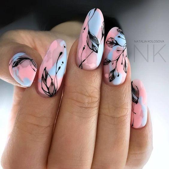Маникюр розовый с голубым – дизайн ногтей с фото