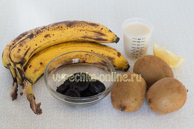 Бананы, киви, овсяное молоко