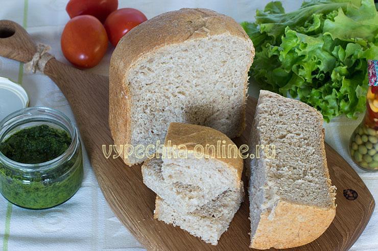 Хлеб с цельнозерновой мукой в хлебопечке