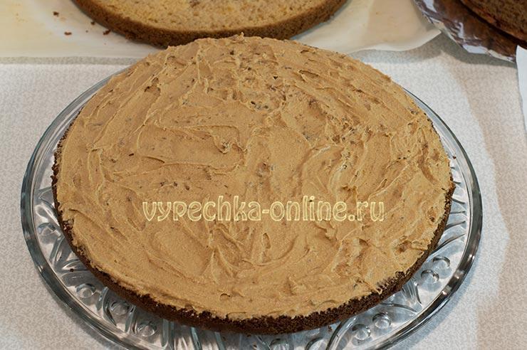 Бисквитный торт с кофе