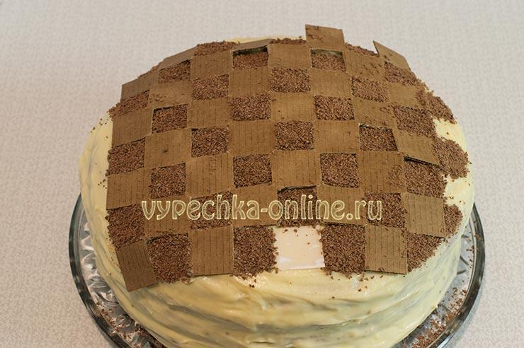 Шахматный торт бисквитный