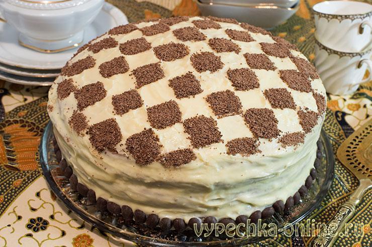 Шахматный торт – рецепт с фото из бисквитных коржей круглый (как сделать)