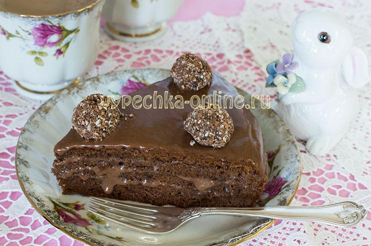 Бисквитный торт с шоколадным кремом рецепт с фото в домашних условиях