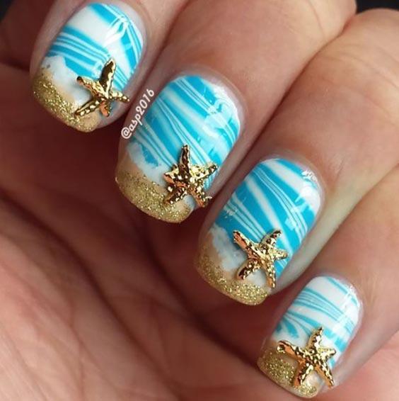 Маникюр с морской тематикой: летний дизайн ногтей