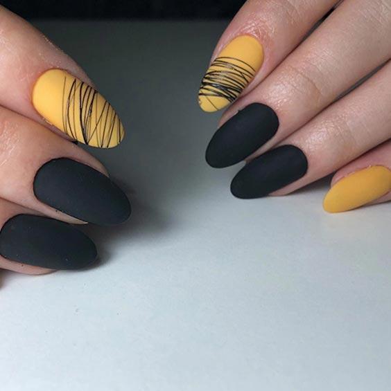 Чёрно-жёлтый маникюр фото (дизайн ногтей с чёрным и жёлтым цветом)