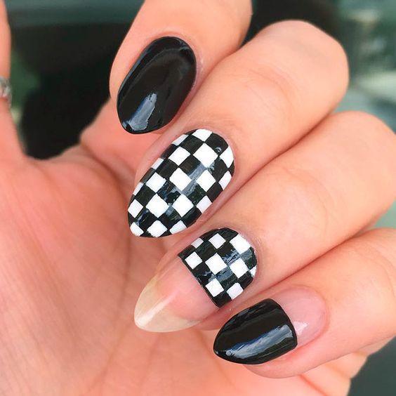 Маникюр шахматная доска – идеи дизайна ногтей с фото
