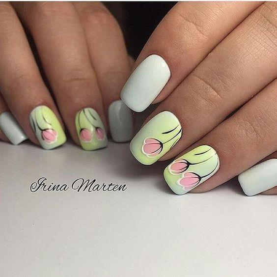 Ногти с цветочками