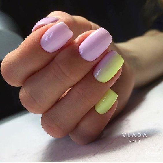Градиент на ногтях дизайн