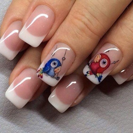 Дизайн ногтей с птичками