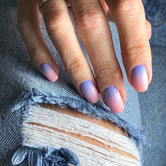 Градиент на ногтях фото