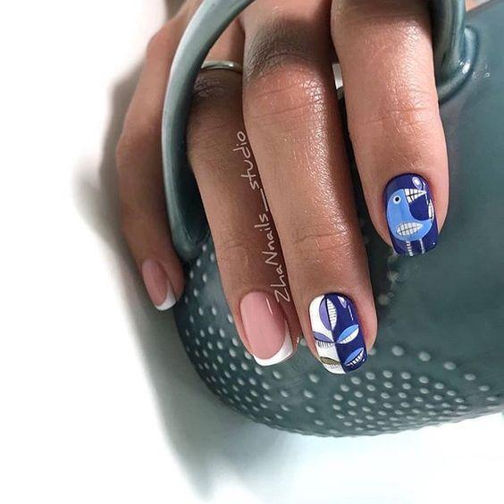 Маникюр с птицами на ногтях