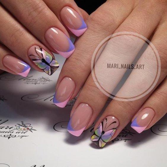 Ногти с бабочками фото