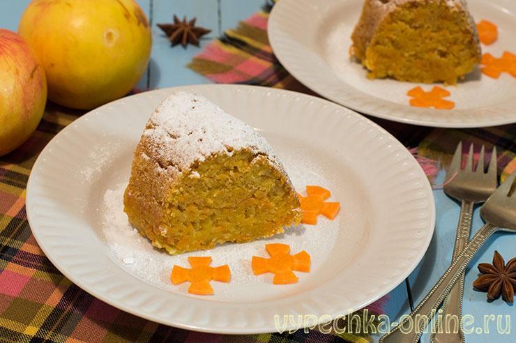 Морковный кекс самый простой и вкусный рецепт с фото в духовке (на растительном масле, с яблоками)
