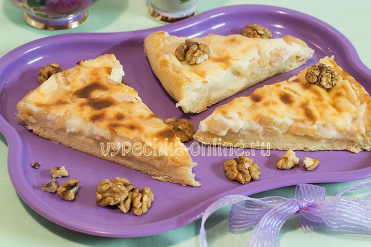 Пирог с яблоками с заливкой из сметаны – рецепт с фото пошагово