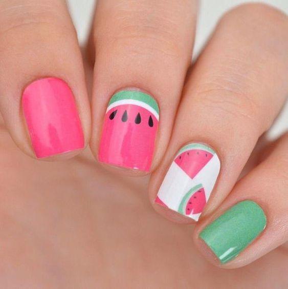 Дизайн ногтей с арбузом фото