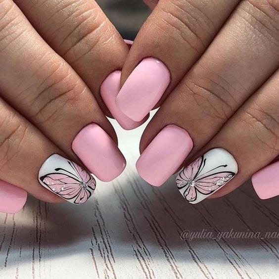 Дизайн ногтей бабочки со стразами идеи с фото