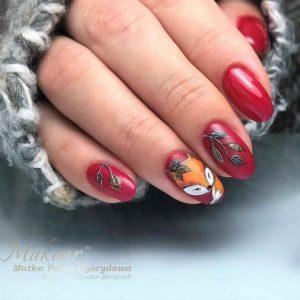 Осенний маникюр с лисой на ногтях – дизайн (рисунки)