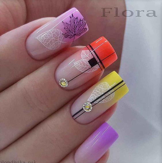 Дизайн ногтей с кленовыми листьями фото