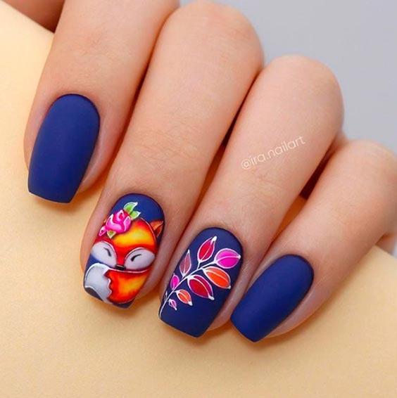 Дизайн ногтей с лисой