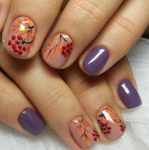 Маникюр рябина на ногтях