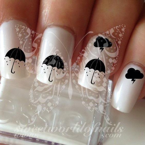 Дизайн ногтей с зонтиком