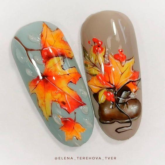 Кленовые листья на ногтях фото