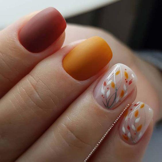 Дизайн ногтей с рябиной осенью