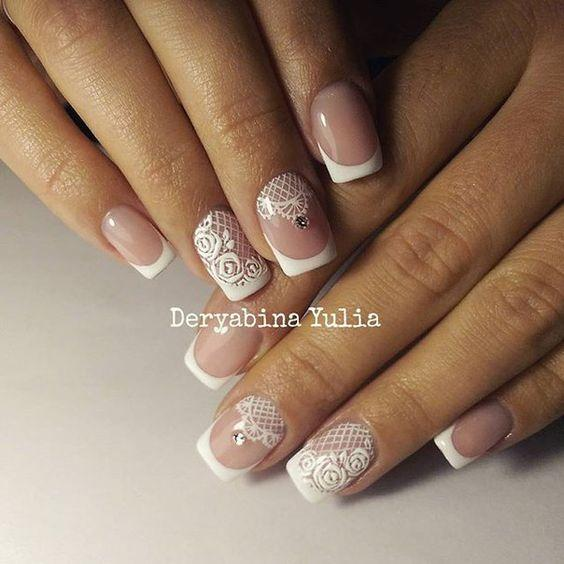 Ногти на свадьбу белые