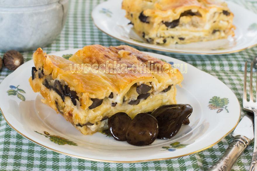 Лазанья с грибами, сыром и соусом Бешамель - рецепт с фото в домашних условиях
