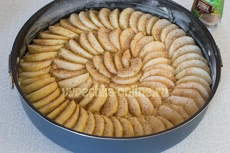 Быстрый пирог с яблоками в духовке на молоке