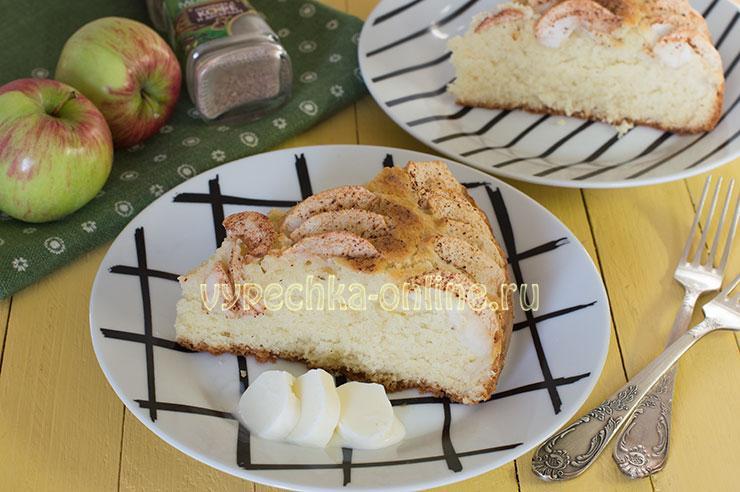 Пирог с яблоками на молоке в духовке