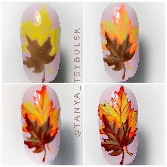 Кленовые листья на ногтях пошагово