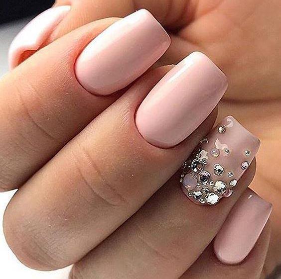 Ногти на свадьбу для невесты нюд