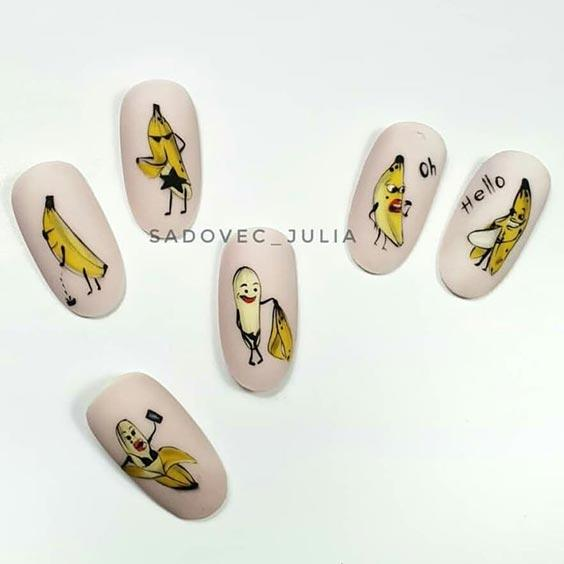 ногти с бананами дизайн